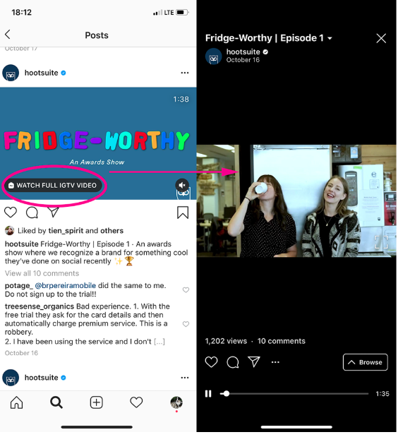 "Screenshot of Instagram feed video by Hootsuite highlighting the ""watch full IGTV video"" prompt"