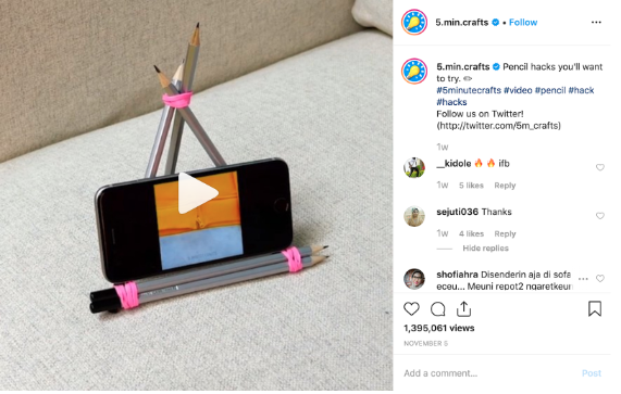 Instagram feed video by 5 min crafts screenshot