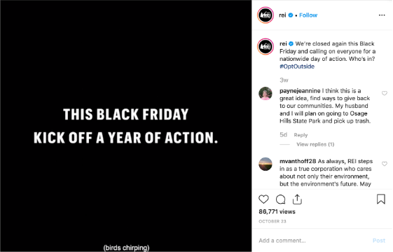 "REI Instagram feed video screenshot, text says ""This Black Friday kick off a year of action"""