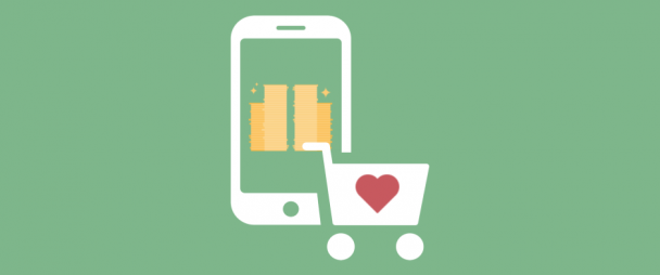 illustration of a phone with piles of gold coins on it and a shopping cart with a heart on it