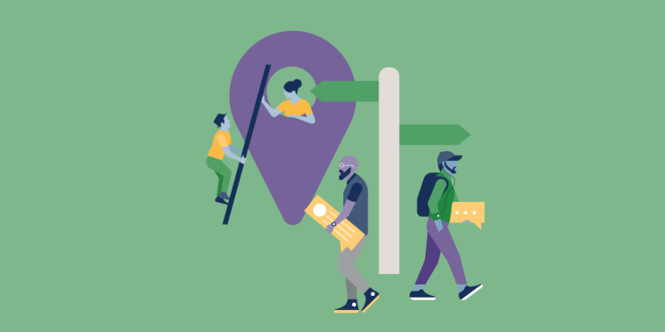 Illustration of a man climbing a Google Maps marker while a woman looks down from inside the icon