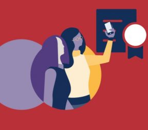 illustration of 2 women presenting social media awards and looking at their phone