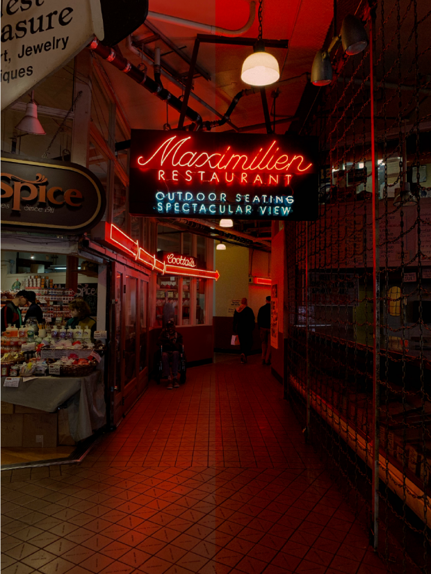 street at night with neon signs
