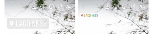 Stickers de ubicación de las Historias de Instagram en dos colores diferentes (gris y multicolor)