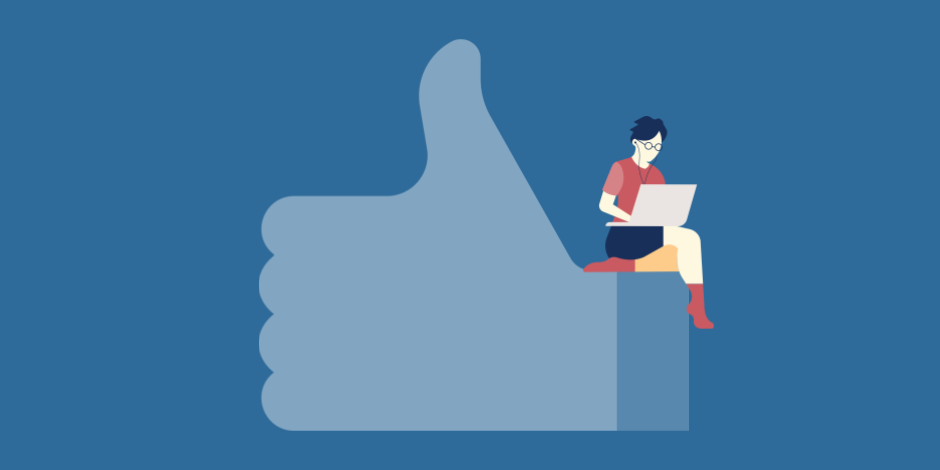 illustration of Facebook like thumb with young woman sitting on top of it working on her laptop