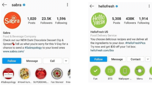 Instagram bios for Sabra and Hello Fresh