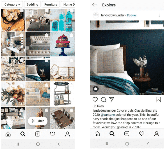 Instagram shopping posts, plus one closeup of a shoppable post for bedding by @landsdownunder