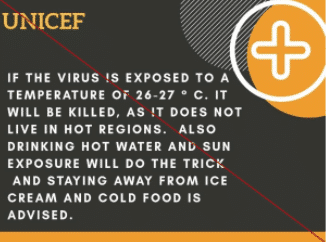 "A ""fact"" about coronavirus that UNICEF has crossed out due to being false"