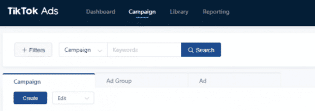 """Campaign"" button highlighted in TikTok ads dashboard"