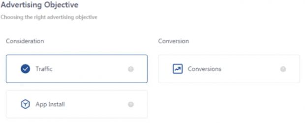 Obiettivi pubblicitari di TikTok: traffico, installazione di app o conversione