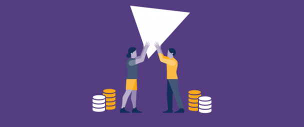 illustration of two people holding a play button with stacks of money beside them