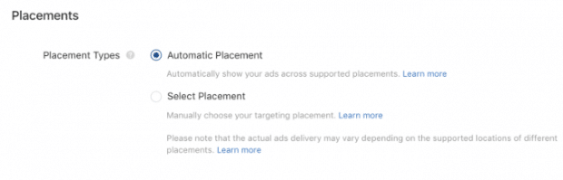 "Tiktok advertising placements, set to ""Automatic Placements"""