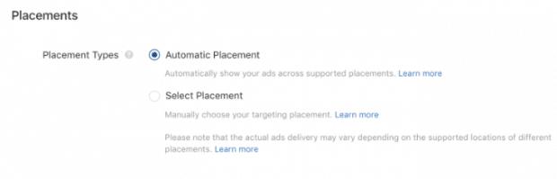 """Posizionamenti pubblicitari Tiktok, impostato su """"Posizionamenti automatici"""""""