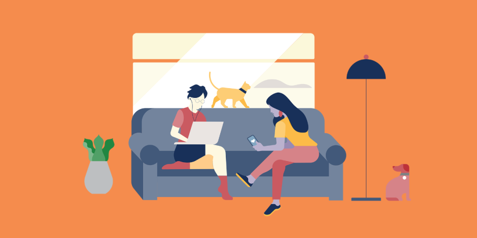 illustration: two women sitting on couch, one watching a virtual event on phone, the other working on laptop