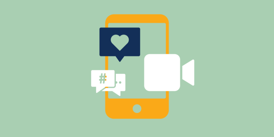 Byte app represented by phone, video camera, like symbol, and hashtag