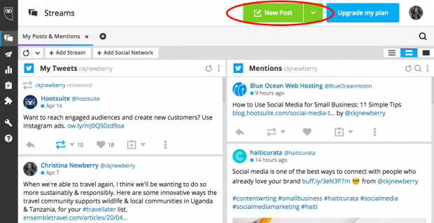 """New Post"" button in Hootsuite's scheduling tool"
