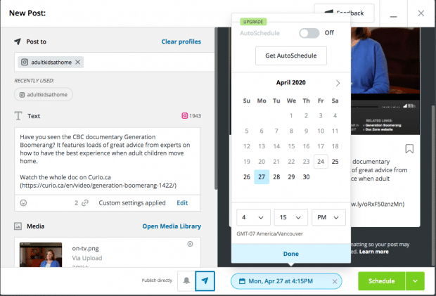 Hootsuite's social media scheduler