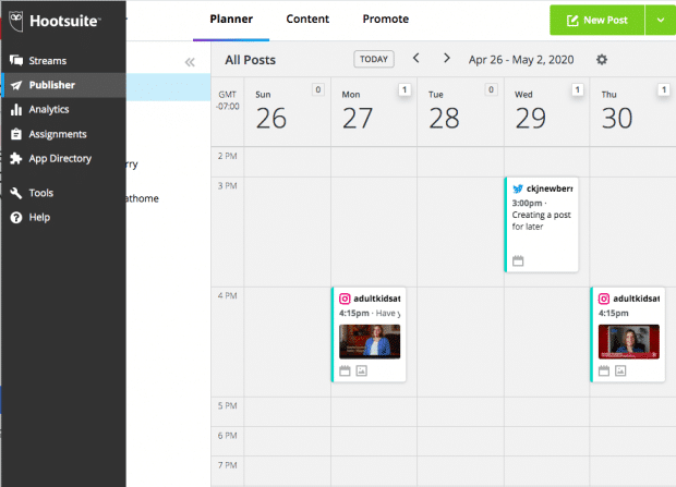 Screenshot of Hootsuite's social media scheduling calendar tool