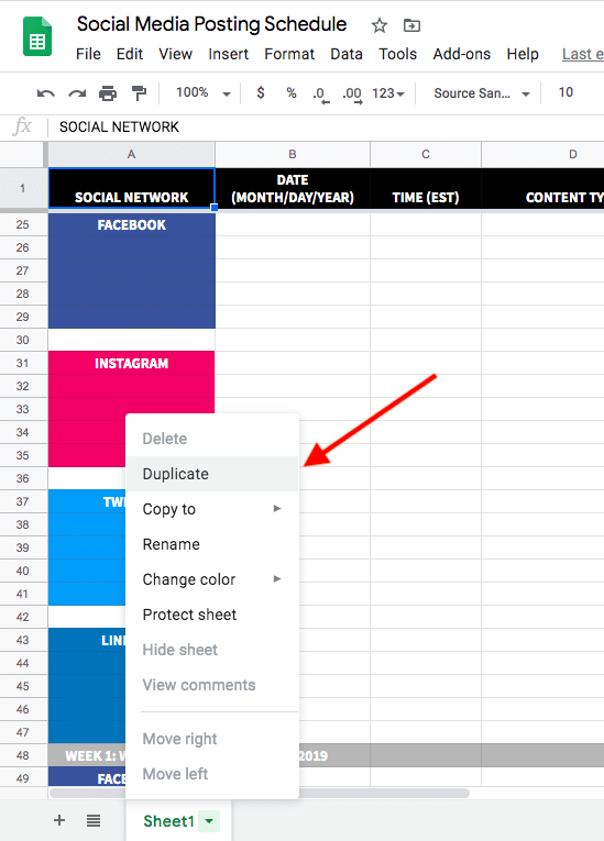 Option to duplicate a sheet in the social media posting schedule template