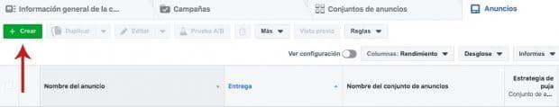 """Panel del Administrador Comercial de Facebook que resalta el botón """"+ Crear"""