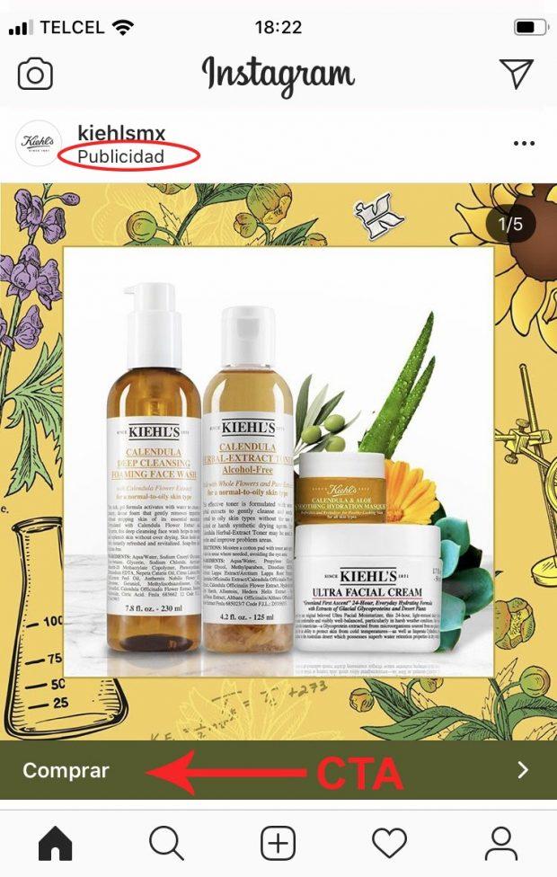 Publicación de Instagram de la marca Kiehl's México que presenta una imagen de cuatro productos para el cuidado de la piel