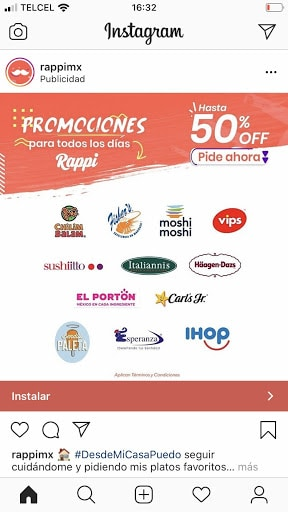 Publicación de Instagram de la empresa Rappi que presenta sus promociones y la llamada a la acción Instalar.