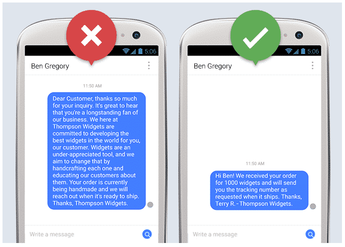 Un long message Facebook contre un court message Facebook