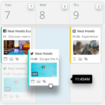 Hootsuite planner with social media posts scheduled for multiple networks