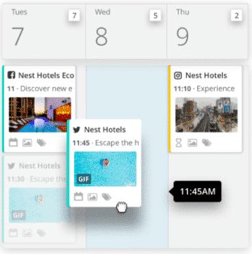 Planificateur Hootsuite avec publications sur les réseaux sociaux programmées pour plusieurs réseaux