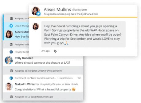La collaboration sur les réseaux sociaux en action: attribution d'un tweet à un membre de l'équipe depuis le tableau de bord Hootsuite