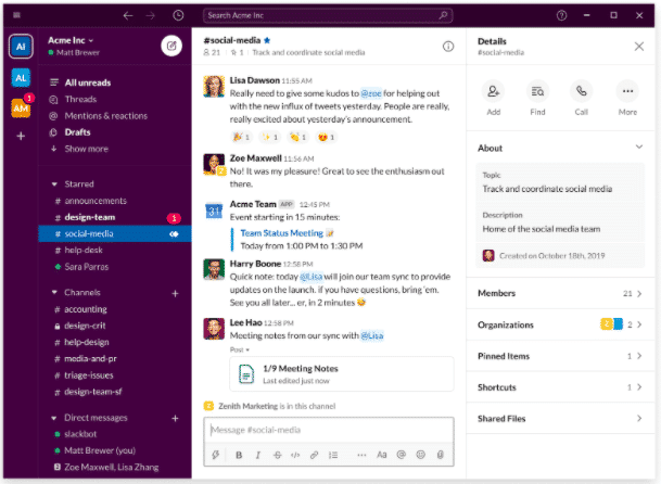 Slack home screen