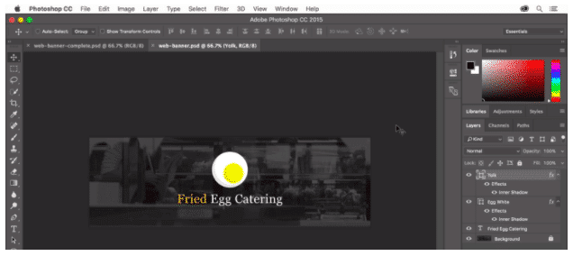 "Design for a header image for ""Fried Egg Catering"" in Photoshop"