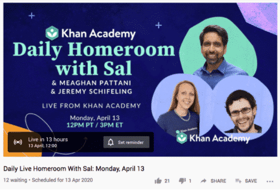 "YouTube cover art for Daily Homeroom with Sal vidoe, popup below says ""Live in 13 hours"""