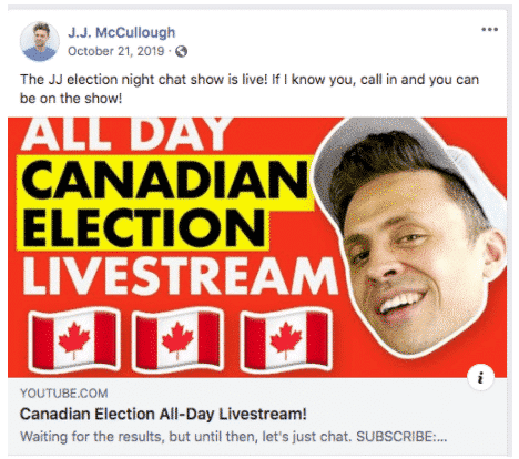 "YouTube video cover art for ""All day Canadian election livestream"" by J. J. McCullough"