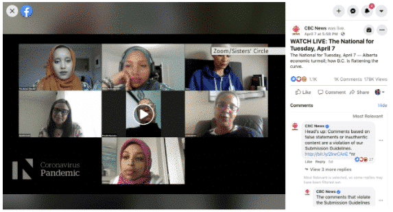 Screenshot of Sister's Circle live stream Zoom chat with CBC
