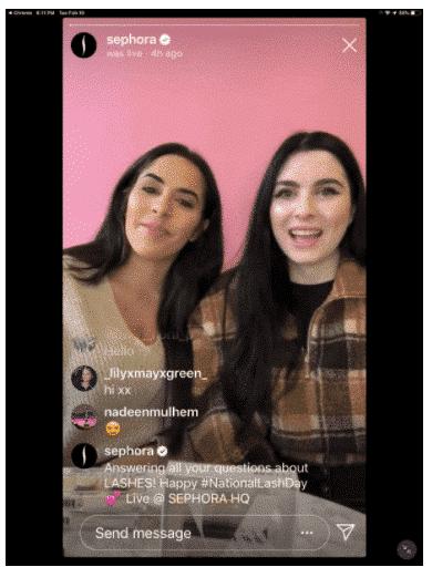 Sephora Instagram live stream