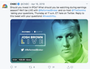 Josh Brown live stream being promoted by CNBC