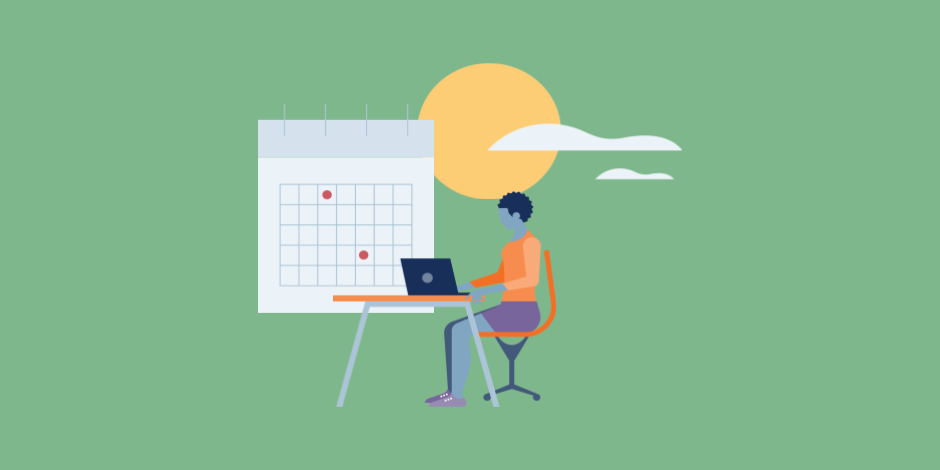 Illustration of a woman working on a laptop with a calendar planner in the background