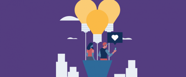 illustration: man and woman on hot air balloon filming a tiktok video