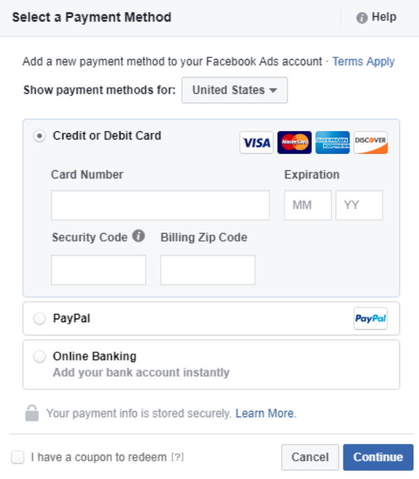 Facebook boost post payment