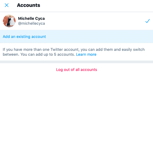Add an existing account option on Twitter