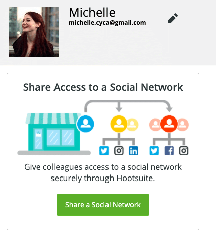 Share access to a social network prompt