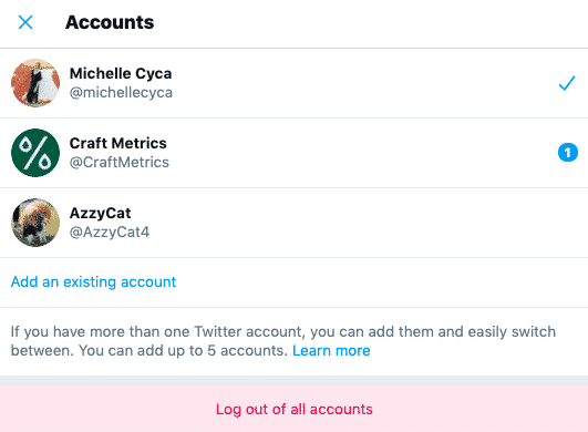multiple Twitter accounts menu with option to log out of all accounts