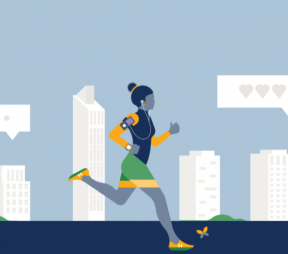 illustration of a woman jogging through a city with her iPhone, listening to a Twitter live