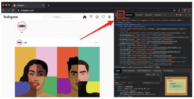 Mobile button in Chrome developer window