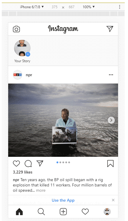 Interface mobile Instagram sur le bureau