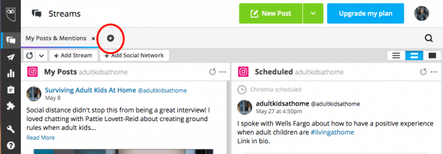 Button to create a new tab to manage another social network in Hootsuite