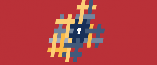 Illustration of a lock surrounded by hashtags