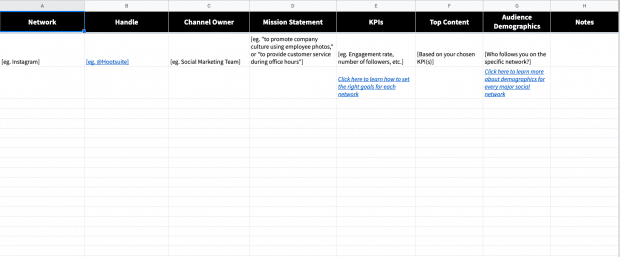 Screenshot of a social media audit spreedsheet for building an effective social media strategy