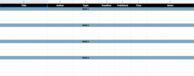 screenshot of the editorial calendar template